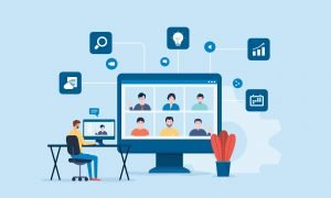people connecting online with teleconference and video conference for meeting learning remote working and work from home concept. flat vector illustration design