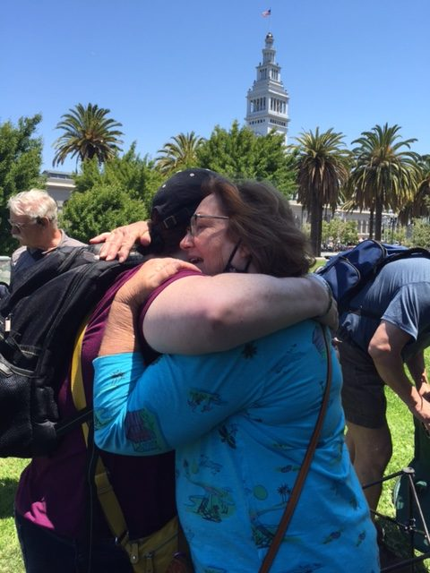 Hugs were a big hit at the LifeRing Secular Recovery in San Francisco