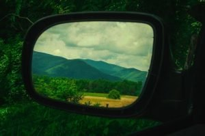 Smokey Mountains from the side view mirror